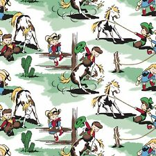Fabric Western Cowboy & Cowgirl Kids Roping the Horses on Green Flannel 1/4 yard