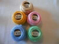 Pack of 5 DMC Perle 5 Cotton Balls Assorted Colours - Colours Numbers may vary