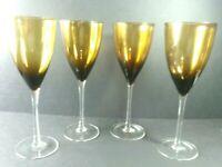 Set of 4 Wine Goblets Amber Brown Long Stem