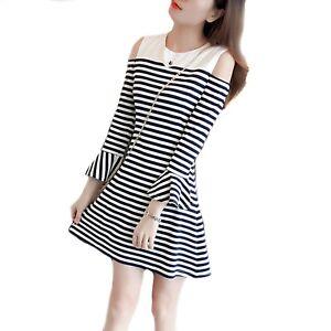 Girls Black & White Stripe Cold Shoulder Ruffle Sleeve Dress Age 12 - 16 years