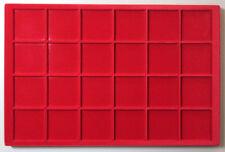VASSOIO 24 CASELLE 47x47 mm per Monete Medaglie in Floccato rosso MASTERPHIL