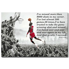 Why I Succeed - Michael Jordan Dunk Motivational Quote Art Silk Poster 13x20""