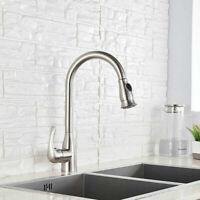 Brushed Nickel  Kitchen Sink Tap Modern Spring Single Handle Mixer Tap With 360