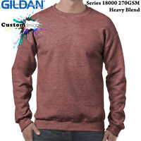 Gildan Heather Sport Dark Maroon Heavy Basic Sweater Jumper Sweatshirt