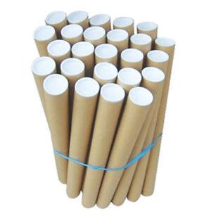 "50X 640mm x 76.4mm (25"" x 3"") Postal Tubes Packing Tubes + End Caps A1 A2 A3 A4"