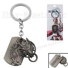 Final Fantasy VII Cloud Wolf & Tag Double Metal Pendant Key Ring Chain NIB