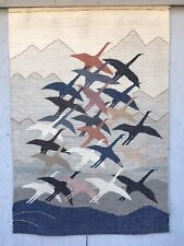 LANDSCAPE 1970S MODERNIST PERU ALAPACA WOOL WEAVING TAPESTRY TEXTILE BIRDS SIGN