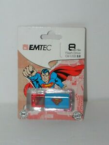 EMTEC C600 Superman 8 GB USB Flash Drive - NEW - Great Gift - Logo