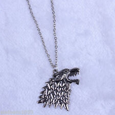 GAME OF THRONES DIRE WOLF HEAD NECKLACE PENDANT BRAND NEW