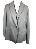 Lane Bryant NWT Women's Gray One Button Collared Blazer size 16 Plus 1085