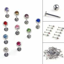 10pcs/18G Ball Labret Lip Chin Rings Nose Ear Bars Stud Stainless Steel Piercing