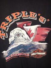 "Vtg HARLEY DAVIDSON DEALER Black T-SHIRT TRIPLE ""S"" BLAIRMORE Alberta 1997 XL"