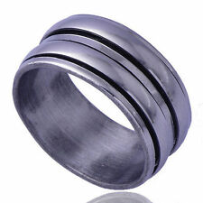 Fashion Mens Womens jewelry stainless steel 2-Circles spin Ring Size 8