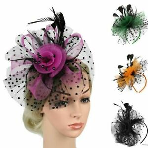 Feather Aliceband Fascinator Ladies Day Royal Ascot Weddings Head Piece Clip NEW