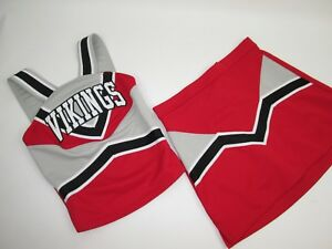 "NEW VIKINGS Cheerleader Uniform Cheer Outfit Child Yth Teen 30"" Top 26 Waist RED"