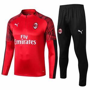 AC Milan Men's Red Gym Sports Training Running Tracksuit Jersey Jacket Sets