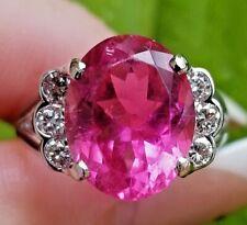 5.70 Blazing Hot Pink Tourmaline Diamond 14k white gold ring