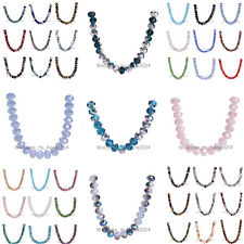 8x6mm 69Colors pick Rondelle Faceted Crystal Glass Loose Spacer Colorized Beads