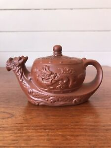 Vintage Chinese Yixing Clay Teapot Dragon Signed To Base
