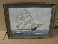 Vintage T BAILEY Oil Painting Ship on the Ocean Framed