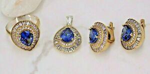 Turkish Handmade Sterling Silver 925 Earring drop Sapphire Set Ring 6 10