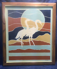 Vintage Artist Signed Oil Painting Birds Heron Egret Abstract Geometric Sunset