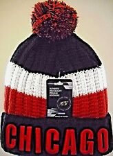 CHICAGO BULLS TEAM-COLORS RED, BLACK & WHITE KNIT CAP HAT WITH EMBROIDERED CUFF