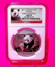 2012 EARLY RELEASES China PANDA NGC MS-69 Graded 1 Ounce oz Silver Coin 10 Yuan