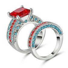 Size 7 Jewelry 10kt white gold filled Princess Ruby women Wedding Ring set gift