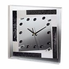 """HAMA Designer """"Spiegel"""" Wand Uhr Glitzer Elemente Wanduhr Design Modern 00123184"""