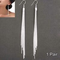 Women's Jewelry Silver Plated Long Hook Tassels Drop Dangle Earrings 1 Pair New
