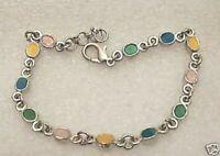 bracelet bijou rétro couleur argent émail multicolore charmant * 4397
