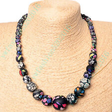 Black Fashion Women FIMO Flower Polymer Clay Beads Chain Sweater Necklace Gifts