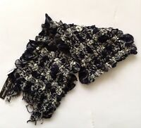 PIA ROSSINI NAVY AND WHITE WAFFLE SCARF 120cm