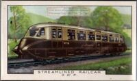 1935 G.W.R. Steamlined Railcar Rail Road Train  80+ Y/O Ad Trade Card