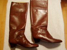 Vintage 70's Women'S Knee High Brown Leather Boots Sz 71/2 N By Bandolino With V