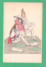 VINTAGE MELA KOEHLER ART POSTCARD FASHIONABLE GIRLS STUDYING BOOKS