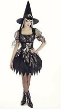 Ladies Witch fancy dress costume Wicked Spell Caster Black Spider Web Halloween