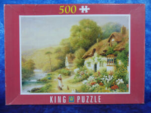 """Cottages By A Stream 500 PIECE ART PUZZLE Glover King International 19.1""""x13.6"""""""