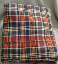 "Vintage Ralph Lauren MADRAS TWIN Flat Sheet Plaid Red Blue Yellow 62"" x 90"""