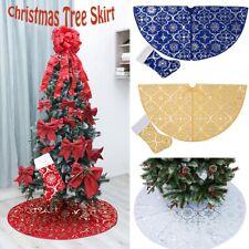 120cm Christmas Tree Skirt With Christmas Sock Stamping Effect Xmas Ornament
