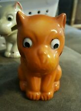 VINTAGE JAPAN HAND PAINTED CERAMIC ORANGE DOG TOOTHBRUSH 3 1/2""