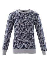 Julien David Two-Tone Jacquard Sweater Navy & Gray M NWOT