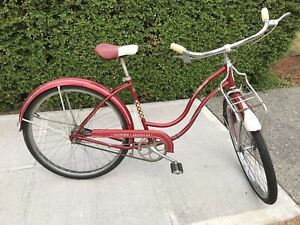 "Red '58 Schwinn ""American"" 2 speed, shiny paint & chrome, front rack - all OEM"