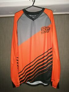 Ride It Clothing Long Sleeve Mountain Bike Enduro Jersey (Orange) (Large)