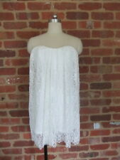 LADIES SIZE 10 MORNING MIST STRAPLESS LACE LACEY DRESS OFF WHITE MINI SEXY CLUB