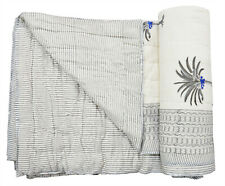 Indian New Cotton Winter Quilt Reversible Palm Coverlet Hand Block Print Blanket