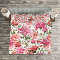 Floral Quilted Bedspread & Pillow Shams Set, Peonies and Roses Print