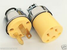 1pc male & 1pc Female Extension Cord Replacement Electrical End Plugs 15AMP 125V