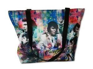"0Elvis Presley Colorful Collage  17""x 14"" Zipper Tote Bag Handbag Purse Shopper"